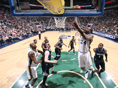 Paul Millsap lays in two of his game-high 30 points against the Timberwolves.   (Getty Images)