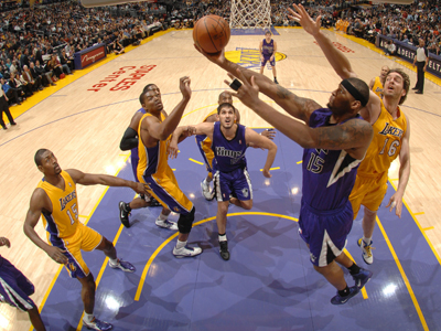 DeMarcus Cousins scores 27 points and grabs 10 rebounds during a solid outing against the Lakers.  (Getty Images)