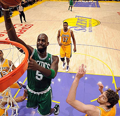 Sporting a butterfly bandage on his head most of the game, Kevin Garnett racks up a double-double Sunday. (Getty Images)