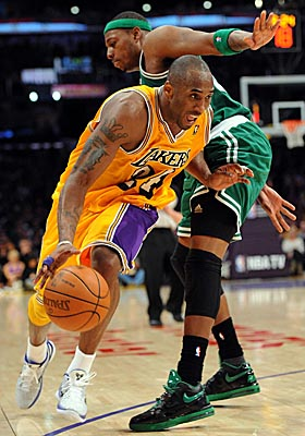 The Lakers revert to a Kobe Bryant-only offense against the Celtics. (US Presswire)