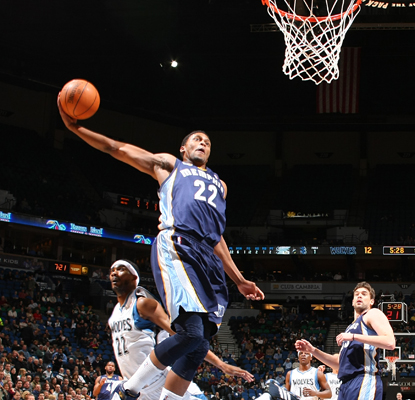 Rudy Gay goes up for the dunk as he helps lead the Grizzlies with 22 points. (Getty Images)