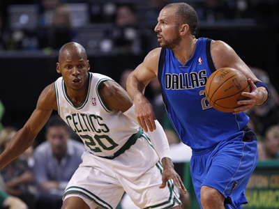 Down by one with three second to play, Jason Kidd nails a three point shot to give Dallas the win.  (Getty Images)
