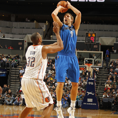 Dirk Nowitzki's game-high 25 points help ensure a Mavericks victory over the Bobcats. (Getty Images)