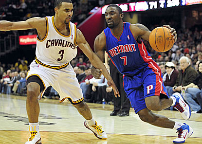 Detroit's Ben Gordon drives around Cleveland's Ramon Sessions during the third quarter.  (US Presswire)