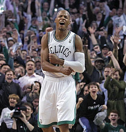 Ray Allen exults after making his second 3-point shot of the night, and the record-breaking 2,561st of his 15-year career.  (AP)