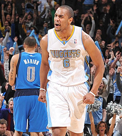 Denver's Arron Afflalo is looking for somebody to hug after capping his 19-point fourth quarter with a walk-off jumper.  (Getty Images)