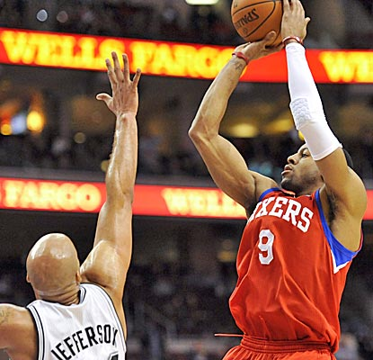 Andre Iguodala scores seven and has six assists in the Sixers' win over the Spurs. (US Presswire)