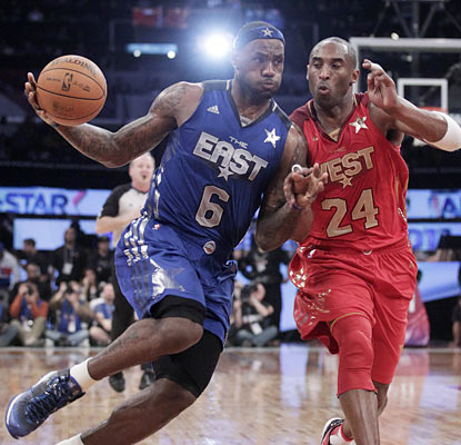 LeBron (29 points, 12 boards, 10 assists) joins Michael Jordan as the only players with a triple-double in the All-Star Game.  (AP)