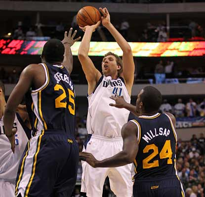 Dirk Nowitzki (23 points) leads seven Mavericks in double figures as the Mavs win their 14th in 15 games.  (US Presswire)