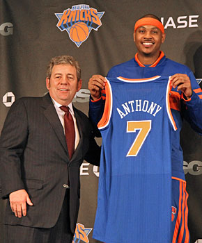 James Dolan probably isn't worried about the NBA's lesser franchises now that he has Carmelo Anthony. (Getty Images)