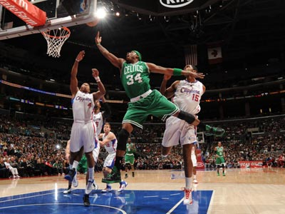 Paul Pierce scores 24 points while leading the Celtics to a come-from-behind victory over the Clippers.  (Getty Images)