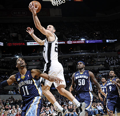 Manu Ginobili gets inside for a shot, finishing with a season-high 35 points in the Spurs' win. (Getty Images)