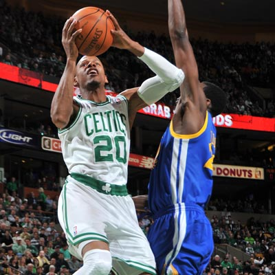 Ray Allen pulls down a crucial offensive rebound with 12 seconds to go to help give Boston the edge over Golden State.  (Getty Images)