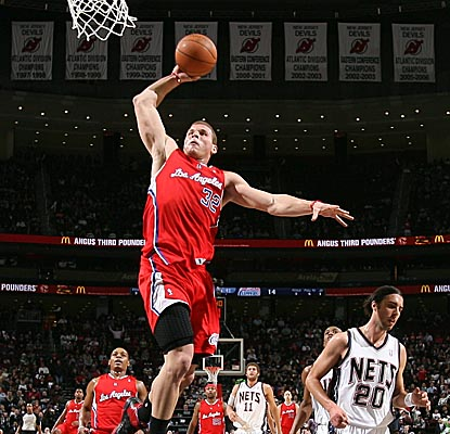 Blake Griffin goes for the dunk in Newark as the Clippers and Nets head into overtime Friday. (Getty Images)