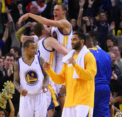 The party is on in Golden State after Monta Ellis (left) highlights a record-setting night in the Warriors' win.  (US Presswire)
