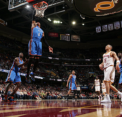 Russell Westbrook rises to the occasion on the Thunder's successful visit to QuickenLoans Arena. (Getty Images)