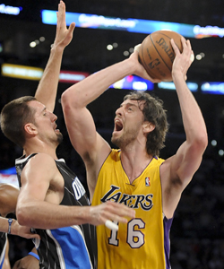 Even with Kobe Bryant at less than 100 percent, Pau Gasol and the Lakers still beat some of the league's best teams. (AP)