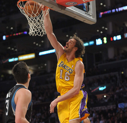 Pau Gasol gets through the Timberwolves defense all night and leads the Lakers with 25 points. (US Presswire)