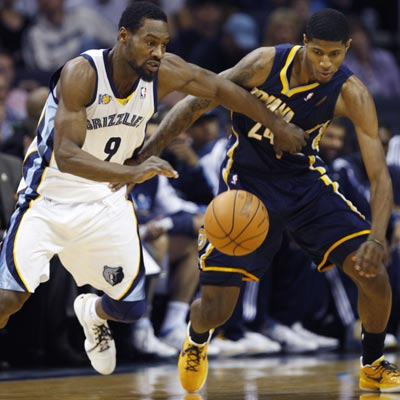 Tony Allen's continuous hustle gives way to a 19-point, 11-rebound performance against the Pacers.  (Getty Images)