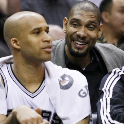 Enjoying the night off, Tim Duncan was listed on the pre-game injury report as 'trop vieux' -- French for 'too old.'  (AP)