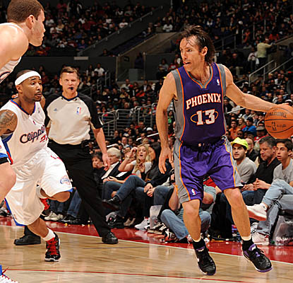 Steve Nash looks for an opening vs. the Clippers in the Suns' road win Sunday. (Getty Images)