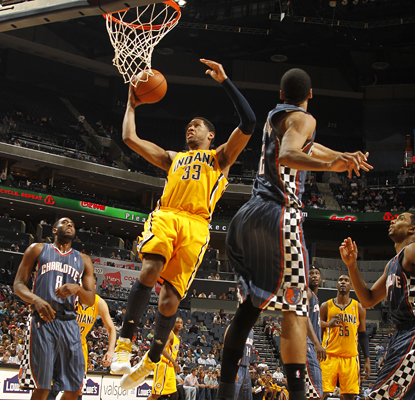 Danny Granger lays the ball in as he works toward scoring his team-leading 33 points for the Pacers.  (Getty Images)