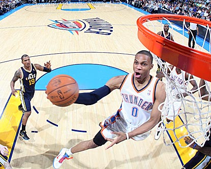 Russell Westbrook scores 31 points by making 11 of 17 shots, including this rather high-percentage attempt here.  (Getty Images)