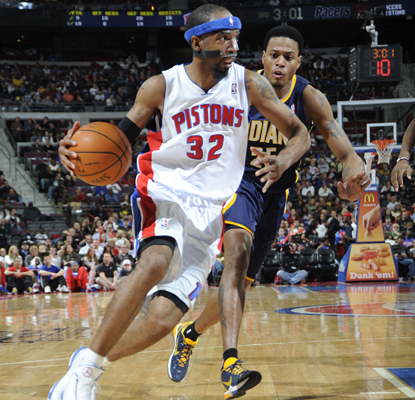 Richard Hamilton drives during the Pistons' game against the Pacers in which he scores 23 points to lead Detroit to the win. (Getty Images)