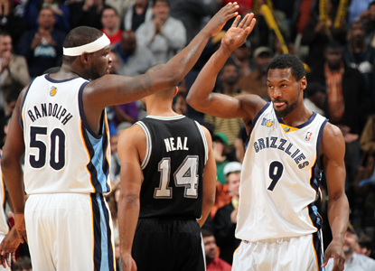 Zach Randolph and Tony Allen give each other some love as they each score 23 points to lead the Grizzlies over the Spurs. (Getty Images)