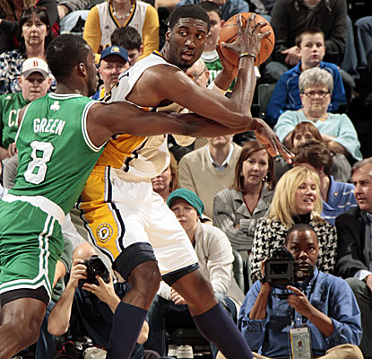 Roy Hibbert looks for an opening vs. the Celtics on his way to 26 points to lead all scorers.  (Getty Images)