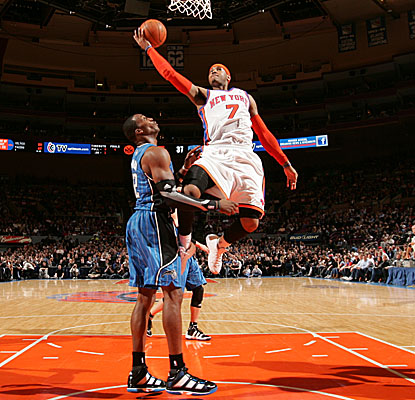Carmelo Anthony heats up after halftime for the Knicks after scoring just six points in the first half. (Getty Images)
