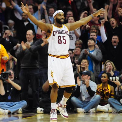 Baron Davis and the Cleveland faithful explode into celebration after defeating LeBron James and the Heat.  (US Presswire)