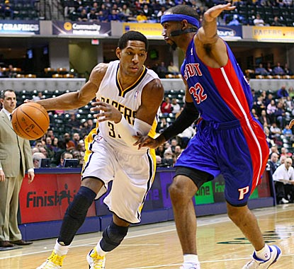 Danny Granger, shown driving on Richard Hamilton, helps the host Pacers recover from a sluggish start.  (US Presswire)
