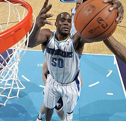 New Orleans' Emeka Okafor pulls down one of his team-leading 10 boards in the loss to Memphis. (Getty Images)