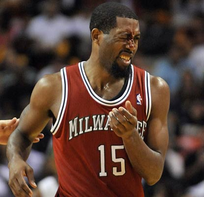 John Salmons leads the Bucks in points (17 on the night) and bloody noses, but the Bucks are eliminated despite the win.  (AP)