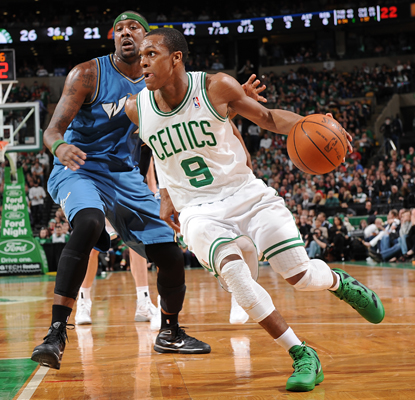 Rajon Rondo records 20 points and 14 assists against the Wizards to lead the Celtics to an important late-season win. (Getty Images)