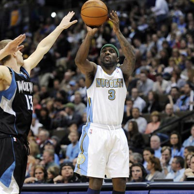 Ty Lawson goes nuts from beyond the arc -- draining his first 10 3-point attempts before finishing with 37 points.  (Getty Images)