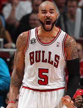 Offseason pickup Carlos Boozer is a big reason the Bulls are making noise going into the playoffs. (Getty Images)