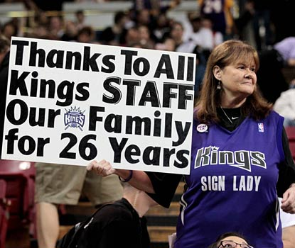 Kings fans take in what is possibly the last time they will see their team playing in Sacramento.  (US Presswire)