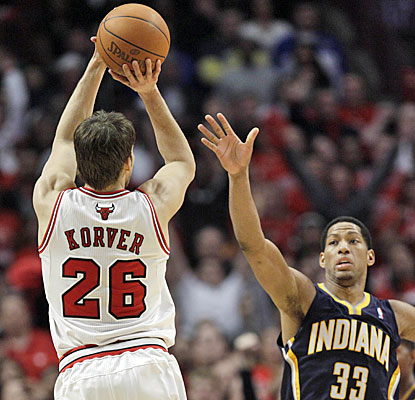 Kyle Korver complete's Chicago's rally by hitting a 3-pointer with under a minute remaining in the game.  (AP)