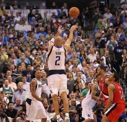 Jason Kidd -- 24 points -- records a playoff career-best six 3-pointers during a Game 1 win against the Blazers.   (US Presswire)