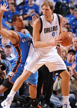 Nowitzki is nearly impossible to stop when he backs down before squaring up and taking the mid-range J. (Getty Images)