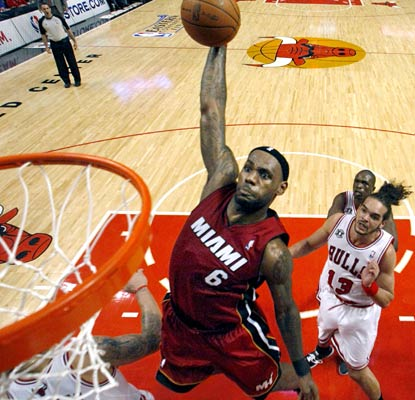 LeBron James leads all scorers in Game 2 with 29 points for Miami, including a monster dunk.  (AP)