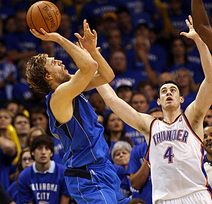 Dirk Nowitzki hits shots from all angles en route to 40 points and a shocking comeback win in Oklahoma City.  (AP)