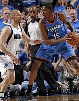 Jason Kidd more than holds his own against Kevin Durant, despite the considerable age difference. (Getty Images)