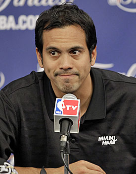 Consider Erik Spoelstra skeptical: 'That's not even a big enough sample.' (AP)