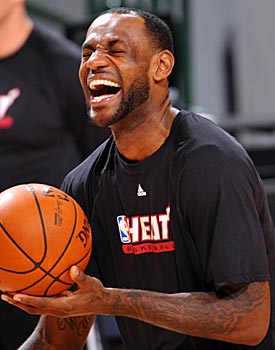 LeBron James appears loose and relaxed in preparation for Game 5. (Getty Images)