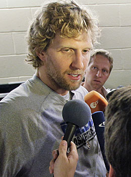 Dirk Nowitzki calls his Finals illness 'something you play through.' (AP)