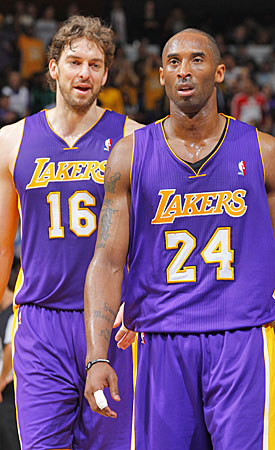 An NFL-like system would give the Lakers the flexibility to pay Pau Gasol and Kobe Bryant while filling out their roster. (Getty Images)