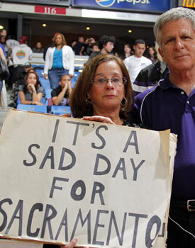 Whether by moving or contraction, Kings fans fear the future of their franchise. (Getty Images)